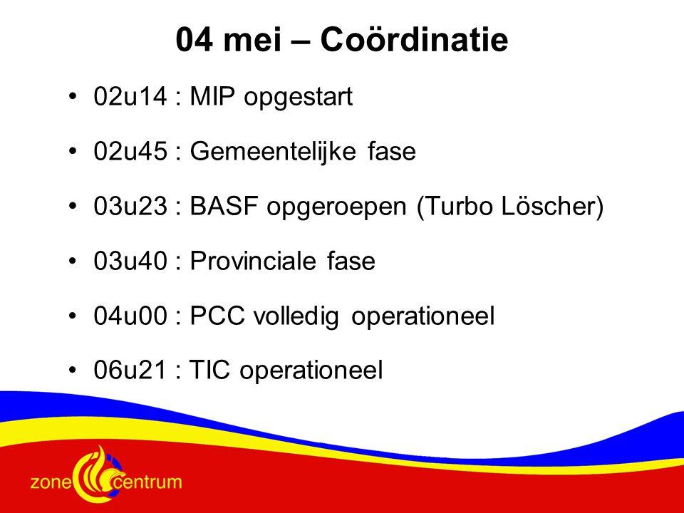 • 02u14 : MIP opgestart • 02u45 : Gemeentelijke fase • 03u23 : BASF opgeroepen (Turbo Löscher) •03u40 : Provinciale fase •04u00 : PCC volledig operationeel •06u21 : TIC operationeel 04 mei – Coördinatie