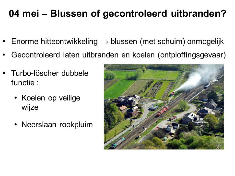 04 mei – Perimeters 02u10 : Evacuatie onmiddellijke omgeving door BW en Pol 03u02-03u54 : Evacuatie binnen perimeter 500m (ontploffingsgevaar) 04u06 : Ramen en deuren sluiten binnen perimeter 1000m