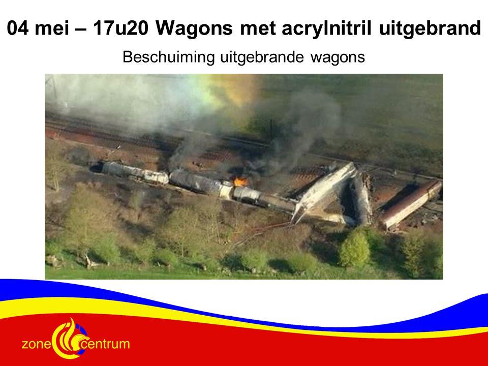 Beschuiming uitgebrande wagons 04 mei – 17u20 Wagons met acrylnitril uitgebrand
