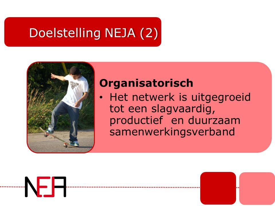 Doelstelling NEJA (2) Organisatorisch • Het netwerk is uitgegroeid tot een slagvaardig, productief en duurzaam samenwerkingsverband