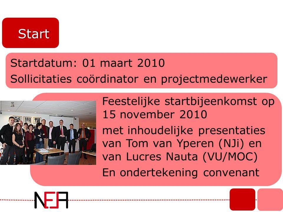 Start Feestelijke startbijeenkomst op 15 november 2010 met inhoudelijke presentaties van Tom van Yperen (NJi) en van Lucres Nauta (VU/MOC) En ondertek
