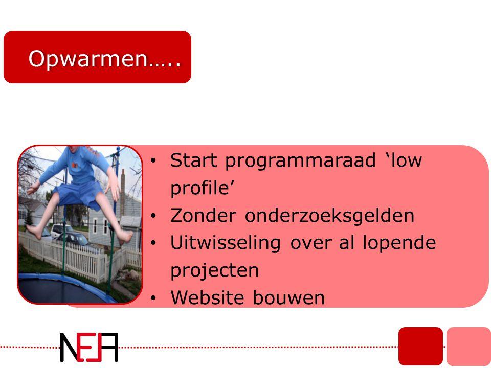 Opwarmen….. • Start programmaraad 'low profile' • Zonder onderzoeksgelden • Uitwisseling over al lopende projecten • Website bouwen