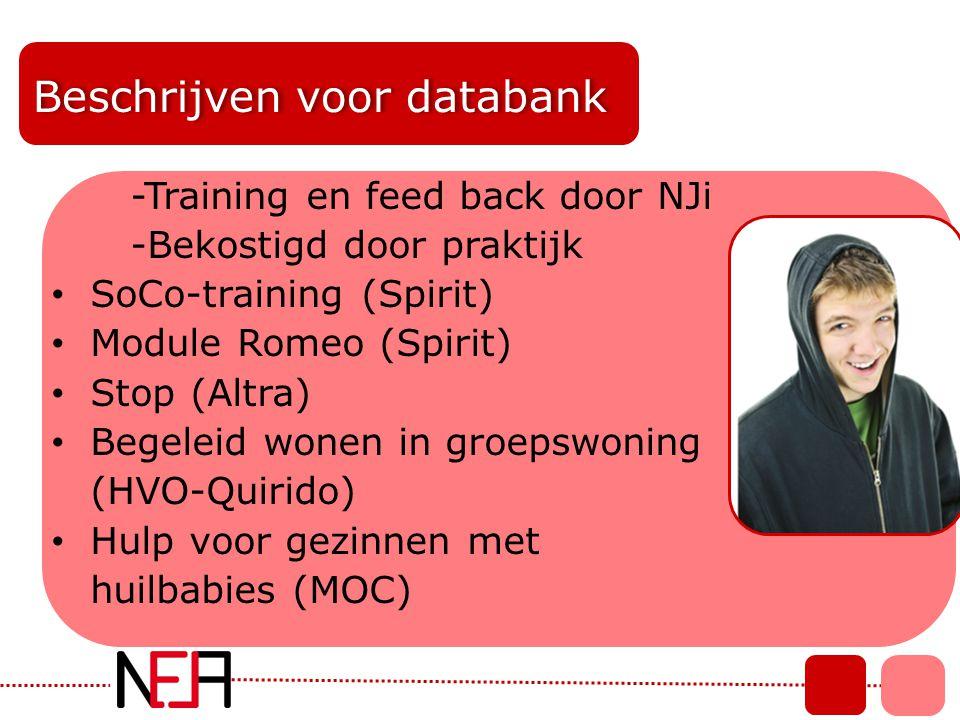Beschrijven voor databank -Training en feed back door NJi -Bekostigd door praktijk • SoCo-training (Spirit) • Module Romeo (Spirit) • Stop (Altra) • B
