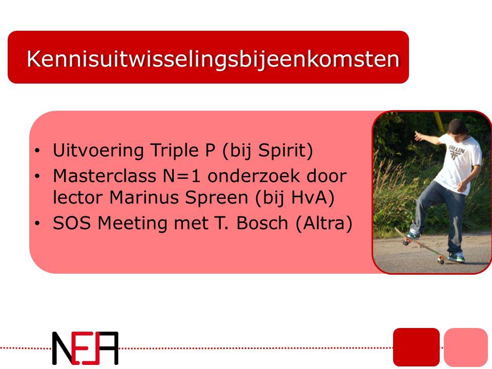 Kennisuitwisselingsbijeenkomsten • Uitvoering Triple P (bij Spirit) • Masterclass N=1 onderzoek door lector Marinus Spreen (bij HvA) • SOS Meeting met