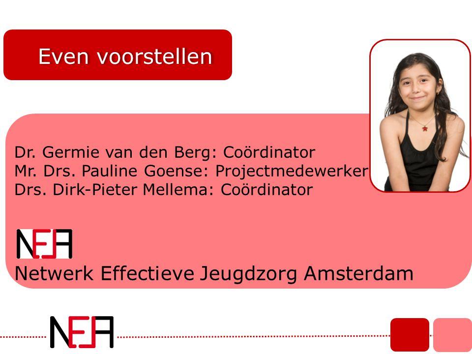 Even voorstellen Dr. Germie van den Berg: Coördinator Mr. Drs. Pauline Goense: Projectmedewerker Drs. Dirk-Pieter Mellema: Coördinator Netwerk Effecti