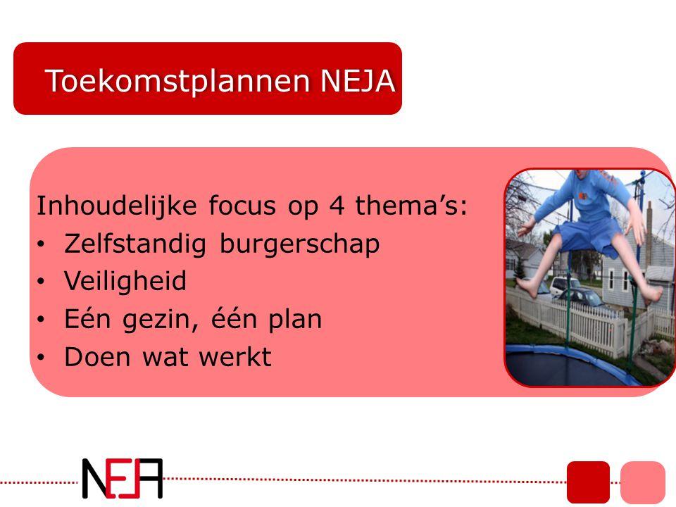 Toekomstplannen NEJA Inhoudelijke focus op 4 thema's: • Zelfstandig burgerschap • Veiligheid • Eén gezin, één plan • Doen wat werkt