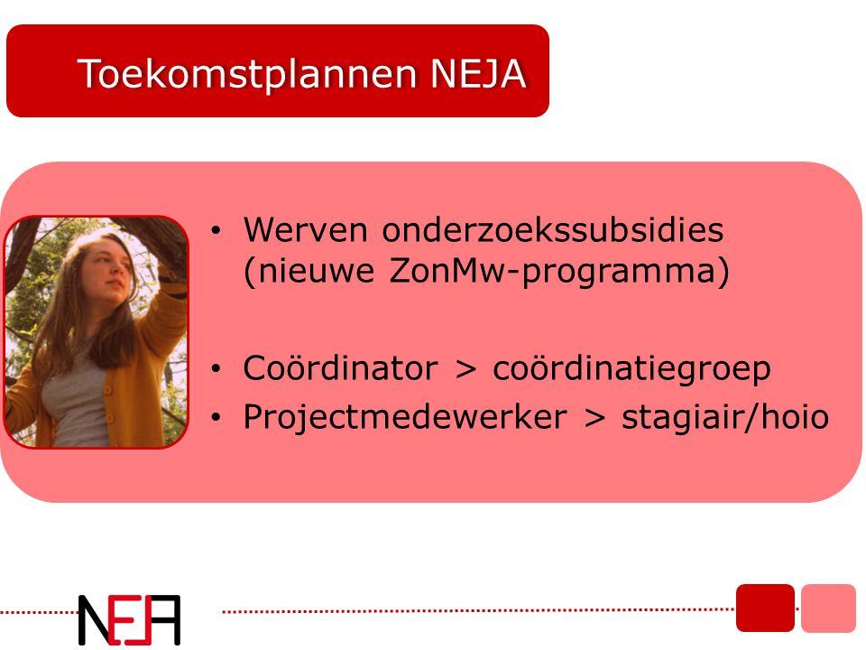 Toekomstplannen NEJA • Werven onderzoekssubsidies (nieuwe ZonMw-programma) • Coördinator > coördinatiegroep • Projectmedewerker > stagiair/hoio