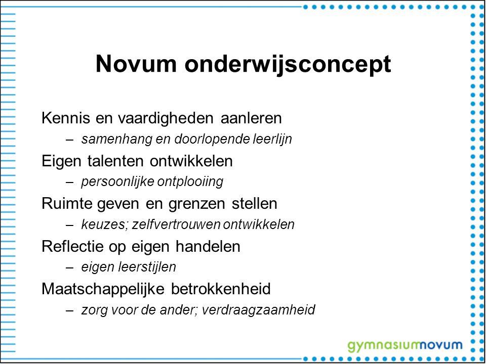 Novum onderwijsconcept Kennis en vaardigheden aanleren –samenhang en doorlopende leerlijn Eigen talenten ontwikkelen –persoonlijke ontplooiing Ruimte