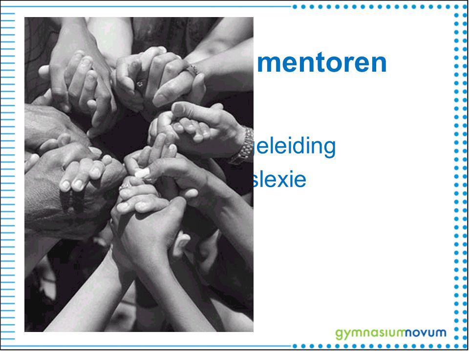 Ondersteuning mentoren Counselor Coördinator studiebegeleiding Signaleringsdictee dyslexie Zorgcoördinator