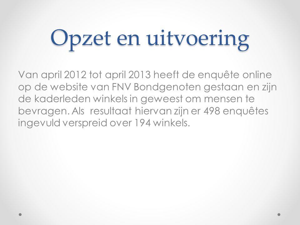 Opzet en uitvoering Van april 2012 tot april 2013 heeft de enquête online op de website van FNV Bondgenoten gestaan en zijn de kaderleden winkels in geweest om mensen te bevragen.