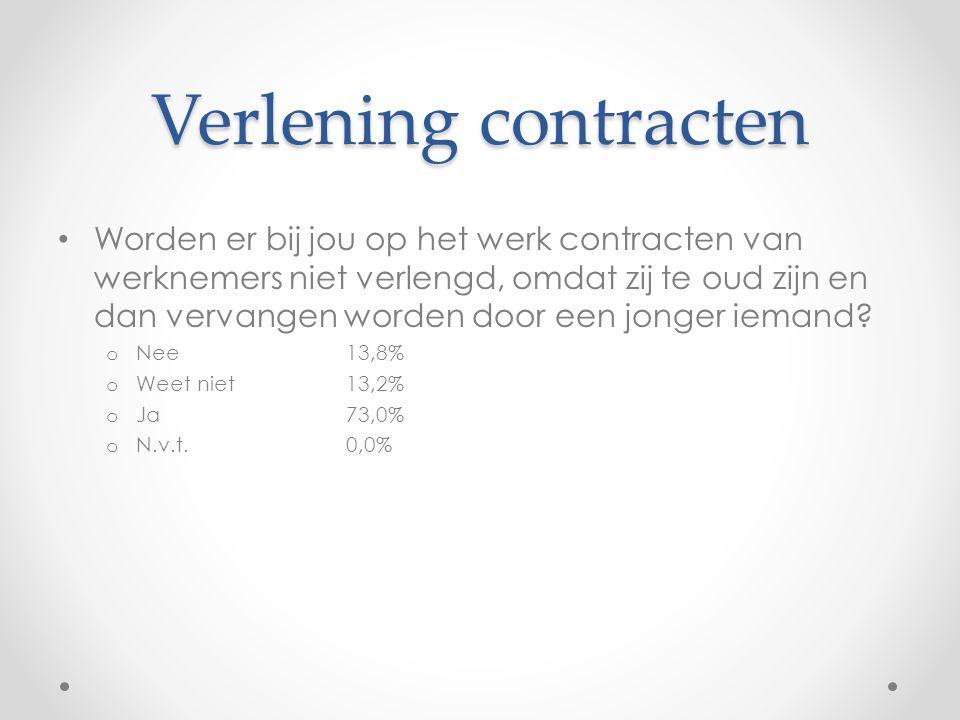 Verlening contracten • Worden er bij jou op het werk contracten van werknemers niet verlengd, omdat zij te oud zijn en dan vervangen worden door een jonger iemand.