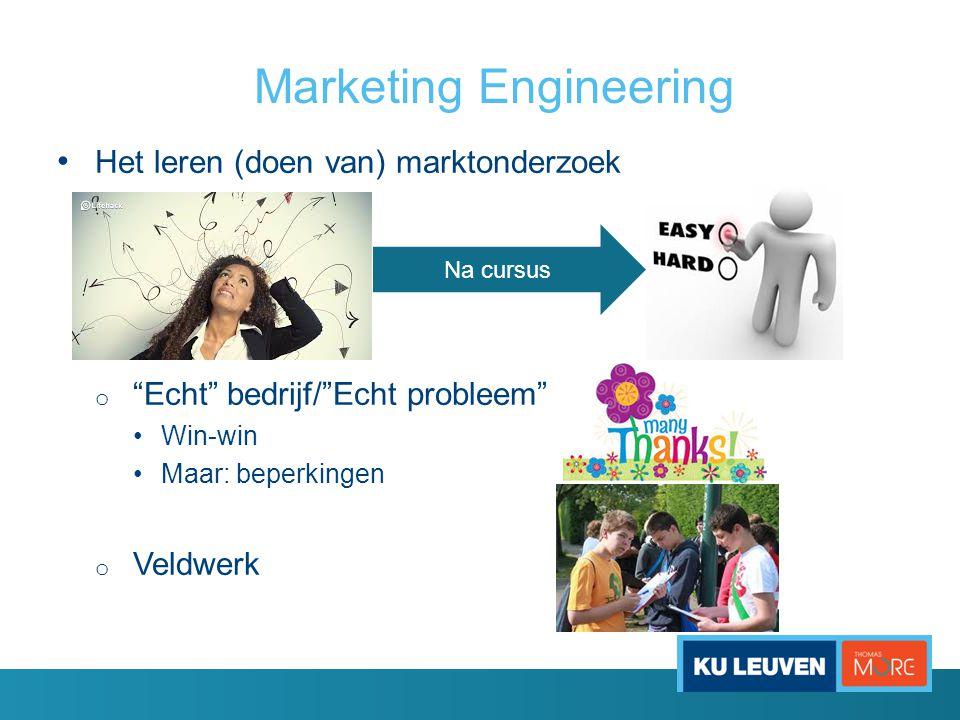 """Marketing Engineering • Het leren (doen van) marktonderzoek o """"Echt"""" bedrijf/""""Echt probleem"""" •Win-win •Maar: beperkingen o Veldwerk Na cursus"""