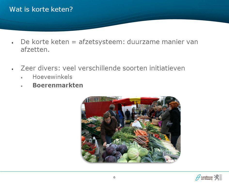 17 Strategisch plan korte keten: achtergrond • Aanleiding: symposium Korte Keten initiatieven in Vlaanderen (22/10/2010) • Initiatief van sector (Voedselteams, Steunpunt Hoeveproducten, Bioforum Vlaanderen, VLAM, Innovatiesteunpunt Boerenbond) en is samenwerking met het Departement Landbouw en Visserij.