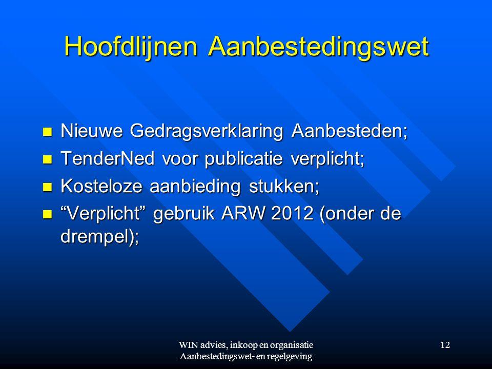 WIN advies, inkoop en organisatie Aanbestedingswet- en regelgeving 12 Hoofdlijnen Aanbestedingswet  Nieuwe Gedragsverklaring Aanbesteden;  TenderNed