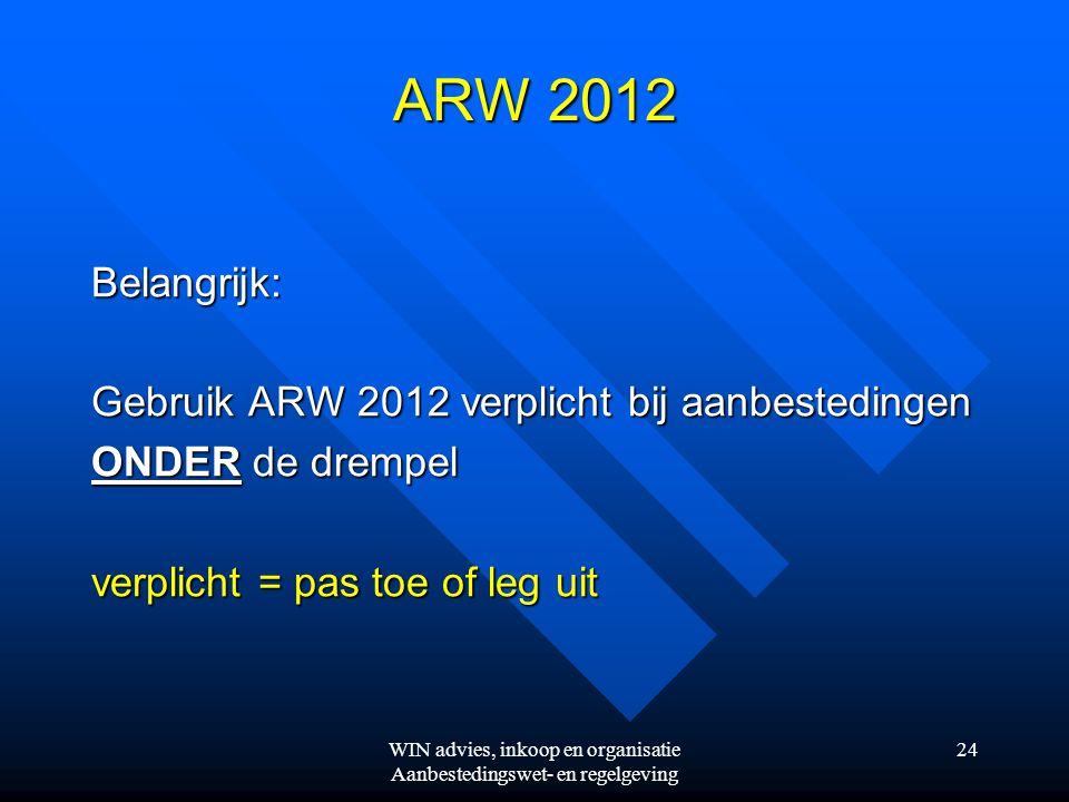 WIN advies, inkoop en organisatie Aanbestedingswet- en regelgeving 24 ARW 2012 Belangrijk: Gebruik ARW 2012 verplicht bij aanbestedingen ONDER de drempel verplicht = pas toe of leg uit