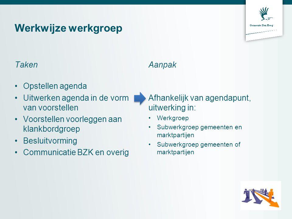 Werkwijze werkgroep Taken •Opstellen agenda •Uitwerken agenda in de vorm van voorstellen •Voorstellen voorleggen aan klankbordgroep •Besluitvorming •C