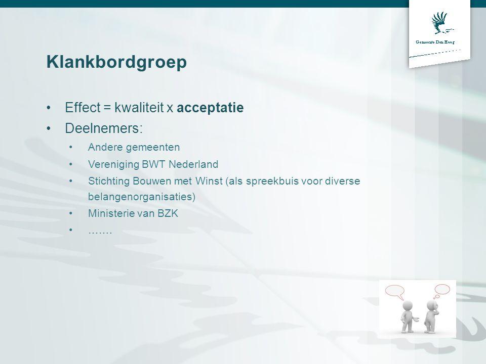 Klankbordgroep •Effect = kwaliteit x acceptatie •Deelnemers: •Andere gemeenten •Vereniging BWT Nederland •Stichting Bouwen met Winst (als spreekbuis v