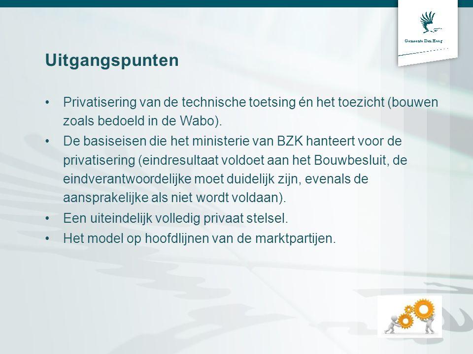 Uitgangspunten •Privatisering van de technische toetsing én het toezicht (bouwen zoals bedoeld in de Wabo). •De basiseisen die het ministerie van BZK