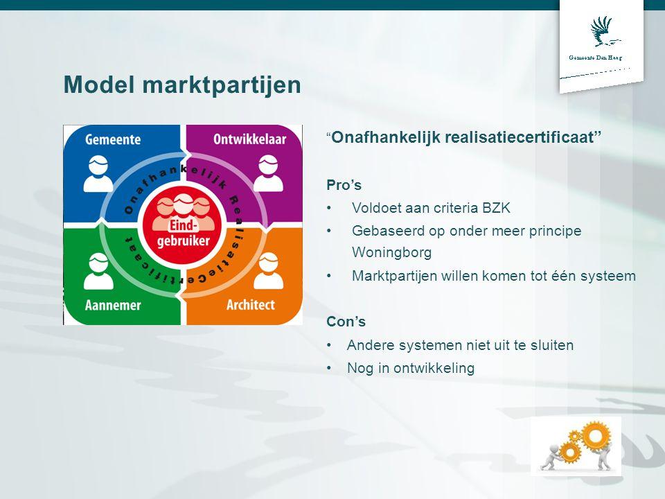 """Model marktpartijen """" Onafhankelijk realisatiecertificaat"""" Pro's •Voldoet aan criteria BZK •Gebaseerd op onder meer principe Woningborg •Marktpartijen"""