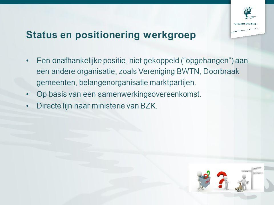 """Status en positionering werkgroep •Een onafhankelijke positie, niet gekoppeld (""""opgehangen"""") aan een andere organisatie, zoals Vereniging BWTN, Doorbr"""