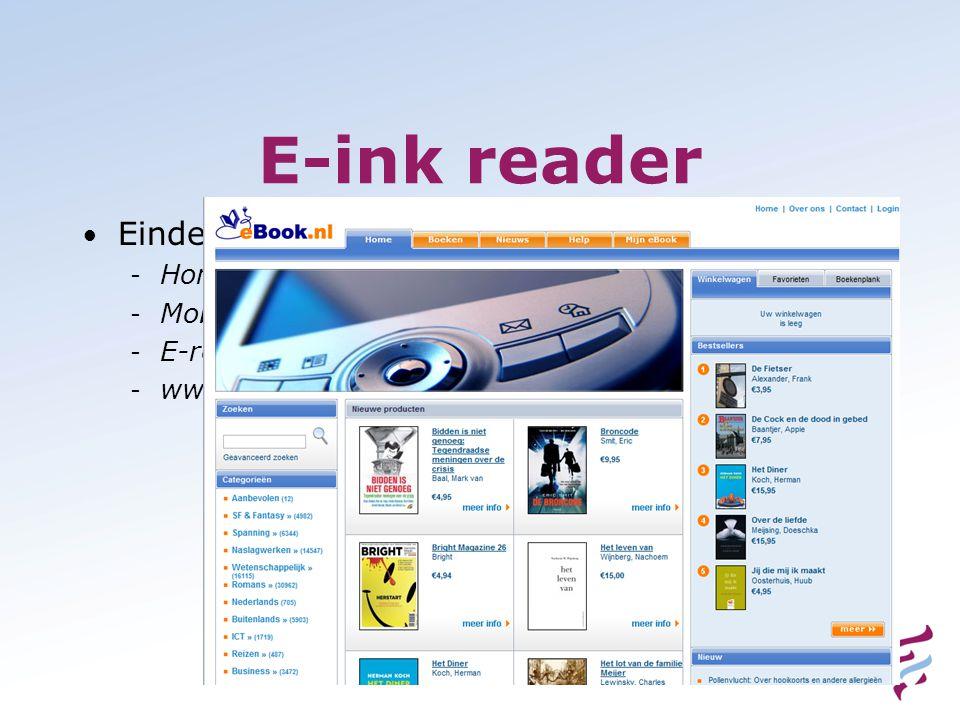 E-ink reader • Eindeloos veel tekst - Honderden boeken - Mobipocket - E-reader - www.eBoek.nl
