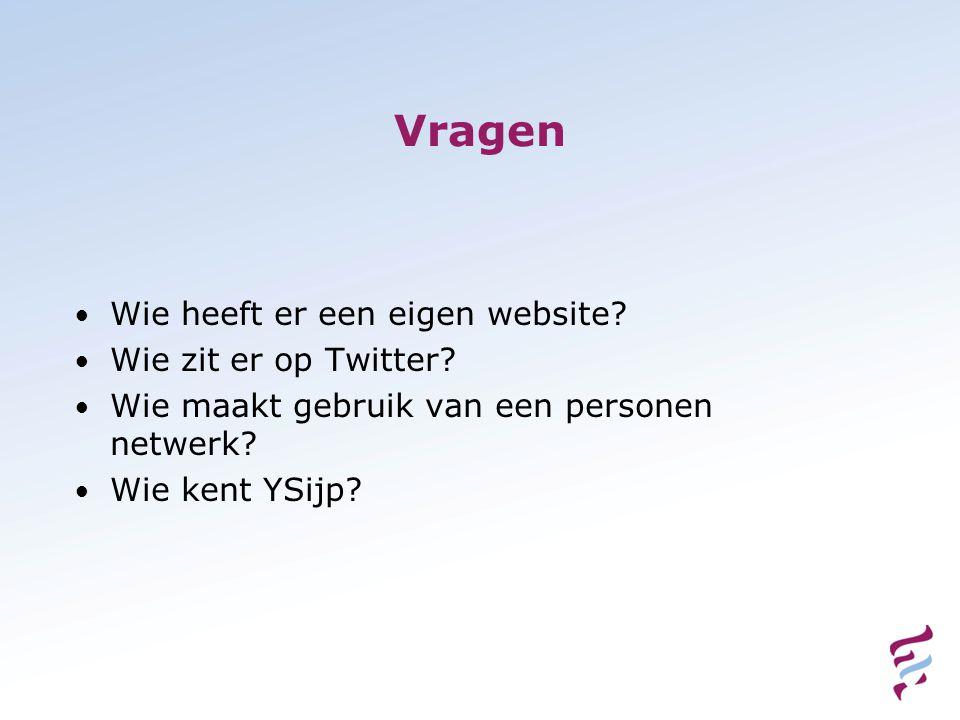 Vragen • Wie heeft er een eigen website. • Wie zit er op Twitter.