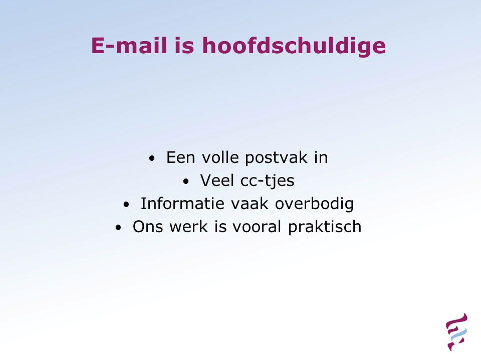 E-mail is hoofdschuldige • Een volle postvak in • Veel cc-tjes • Informatie vaak overbodig • Ons werk is vooral praktisch