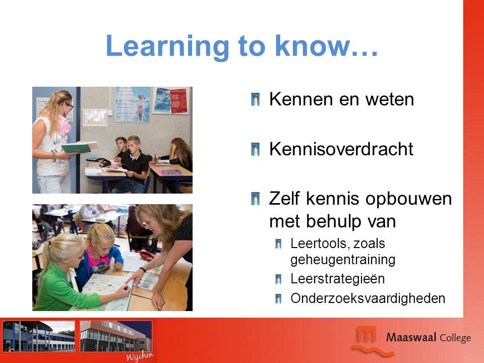Learning to know… Kennen en weten Kennisoverdracht Zelf kennis opbouwen met behulp van Leertools, zoals geheugentraining Leerstrategieën Onderzoeksvaa
