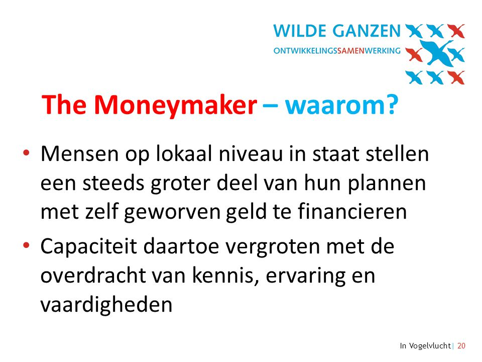 In Vogelvlucht| 20 The Moneymaker – waarom.