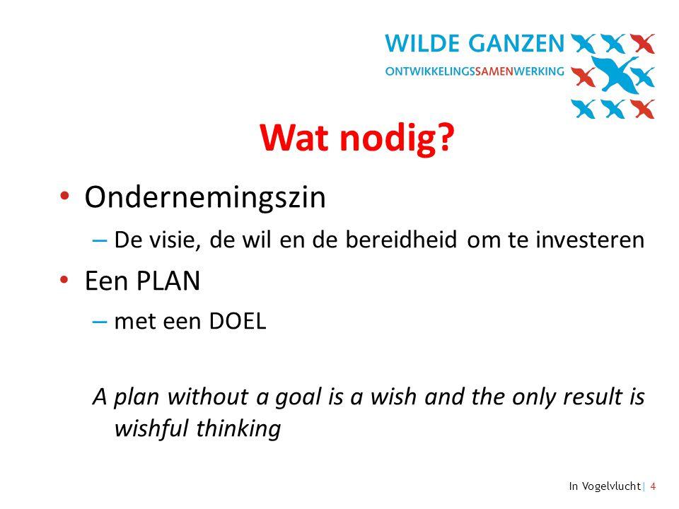 In Vogelvlucht| 4 Wat nodig? • Ondernemingszin – De visie, de wil en de bereidheid om te investeren • Een PLAN – met een DOEL A plan without a goal is
