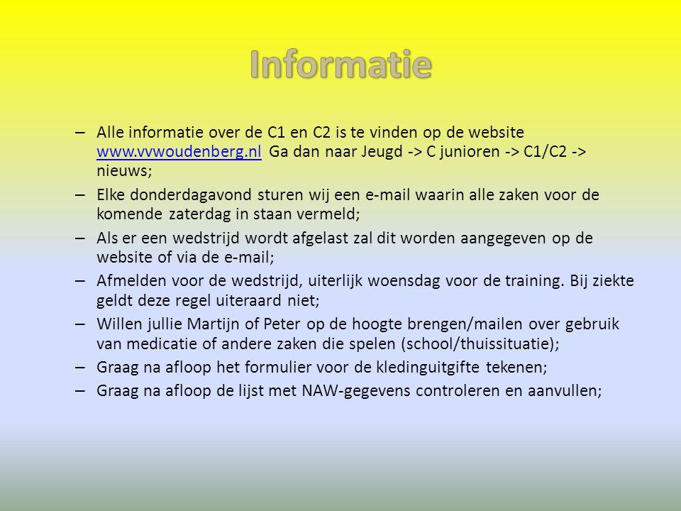 – Alle informatie over de C1 en C2 is te vinden op de website www.vvwoudenberg.nl Ga dan naar Jeugd -> C junioren -> C1/C2 -> nieuws; www.vvwoudenberg