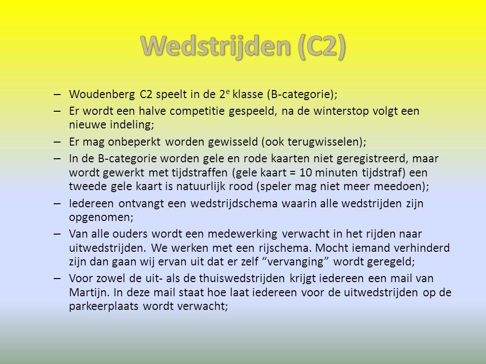 – Woudenberg C2 speelt in de 2 e klasse (B-categorie); – Er wordt een halve competitie gespeeld, na de winterstop volgt een nieuwe indeling; – Er mag