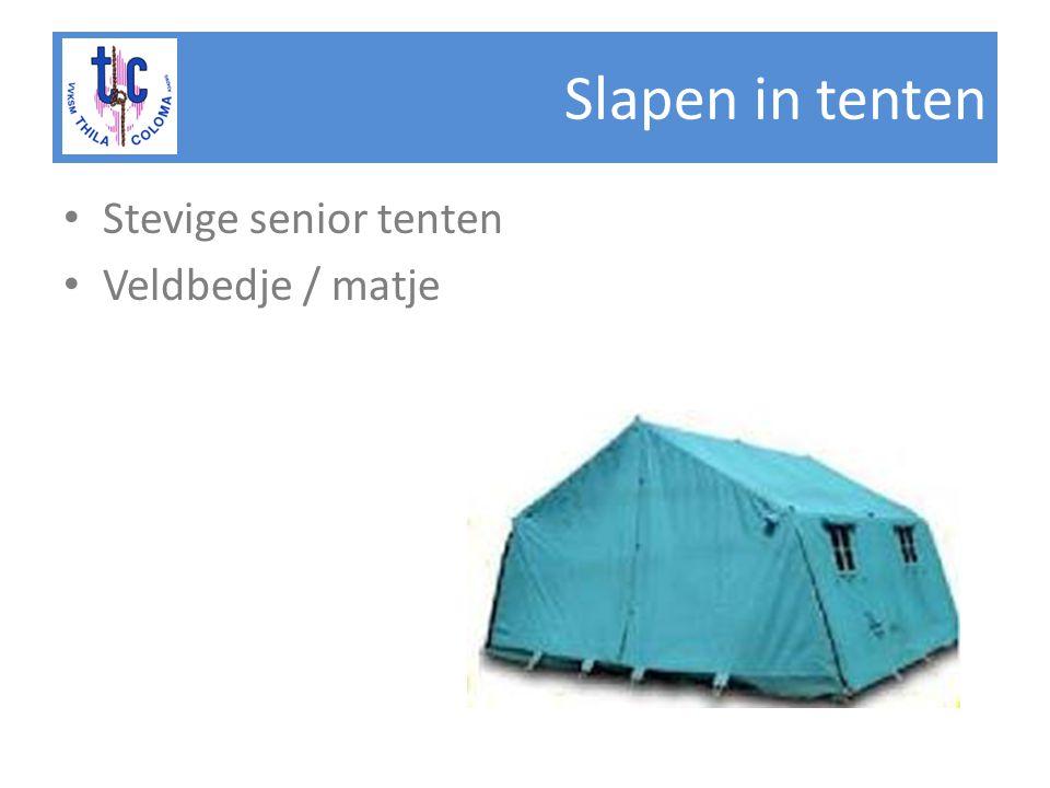 Slapen in tenten • Stevige senior tenten • Veldbedje / matje