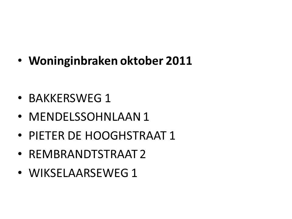 • Woninginbraken oktober 2011 • BAKKERSWEG 1 • MENDELSSOHNLAAN 1 • PIETER DE HOOGHSTRAAT 1 • REMBRANDTSTRAAT 2 • WIKSELAARSEWEG 1