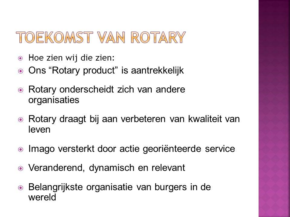 """ Hoe zien wij die zien:  Ons """"Rotary product"""" is aantrekkelijk  Rotary onderscheidt zich van andere organisaties  Rotary draagt bij aan verbeteren"""
