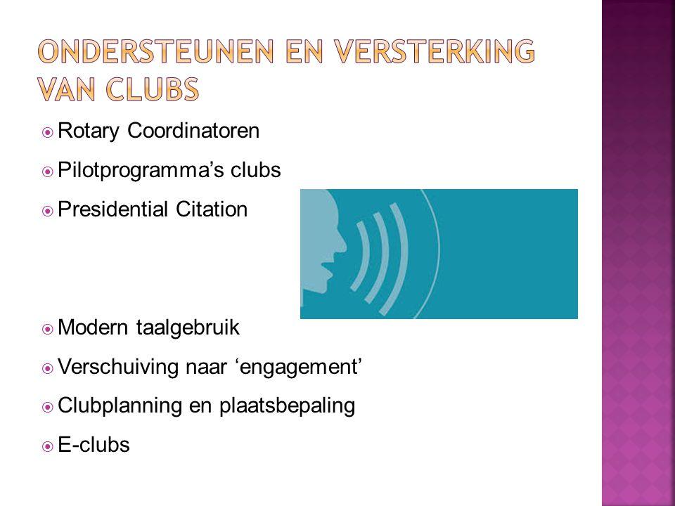  Rotary Coordinatoren  Pilotprogramma's clubs  Presidential Citation  Modern taalgebruik  Verschuiving naar 'engagement'  Clubplanning en plaats
