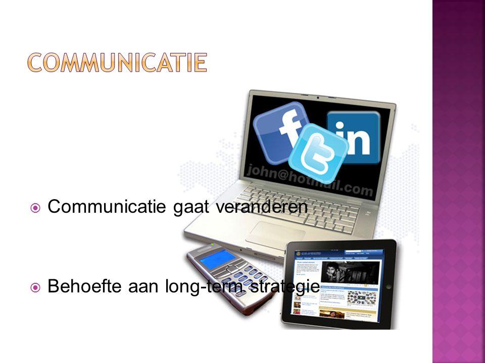  Communicatie gaat veranderen  Behoefte aan long-term strategie