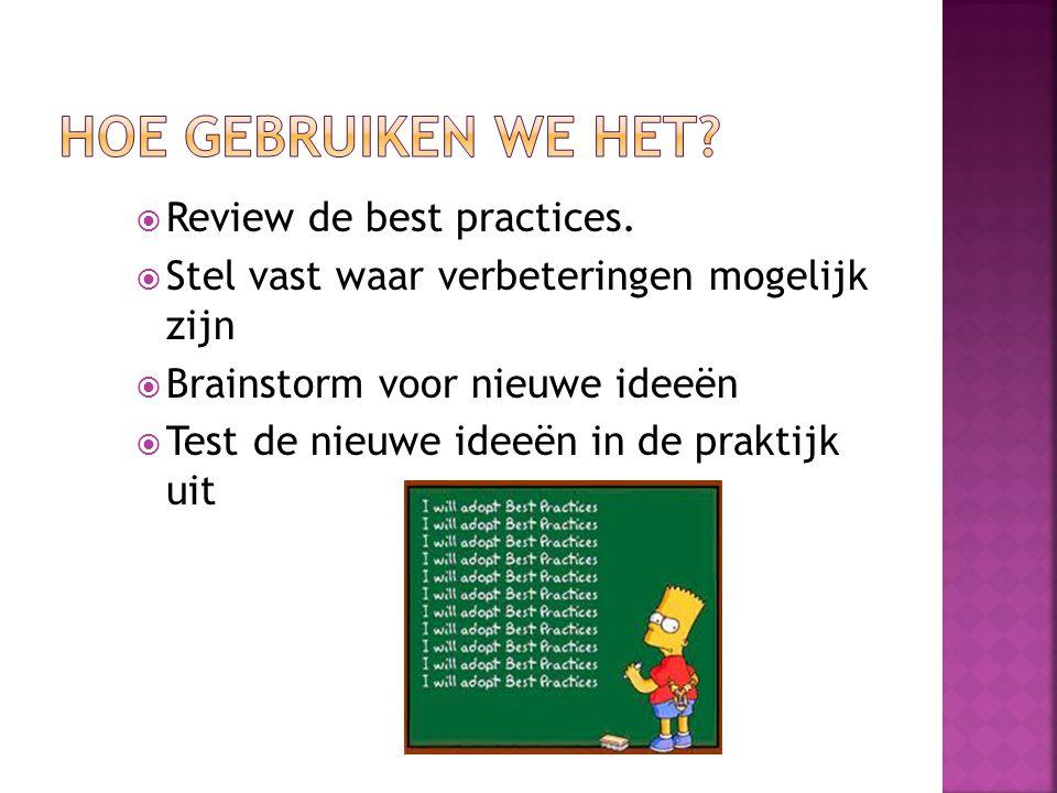  Review de best practices.  Stel vast waar verbeteringen mogelijk zijn  Brainstorm voor nieuwe ideeën  Test de nieuwe ideeën in de praktijk uit