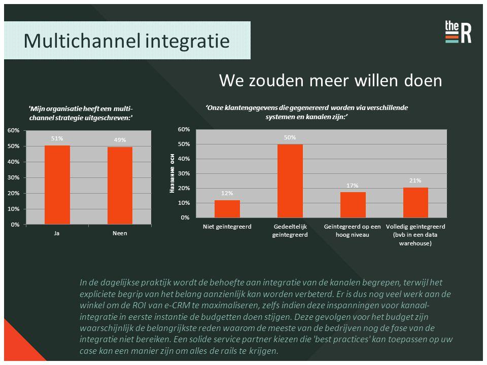 Multichannel integratie We zouden meer willen doen In de dagelijkse praktijk wordt de behoefte aan integratie van de kanalen begrepen, terwijl het exp