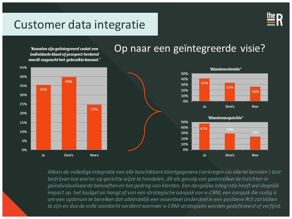 Customer data integratie Op naar een geïntegreerde visie? Alleen de volledige integratie van alle beschikbare klantgegevens (verkregen via allerlei ka