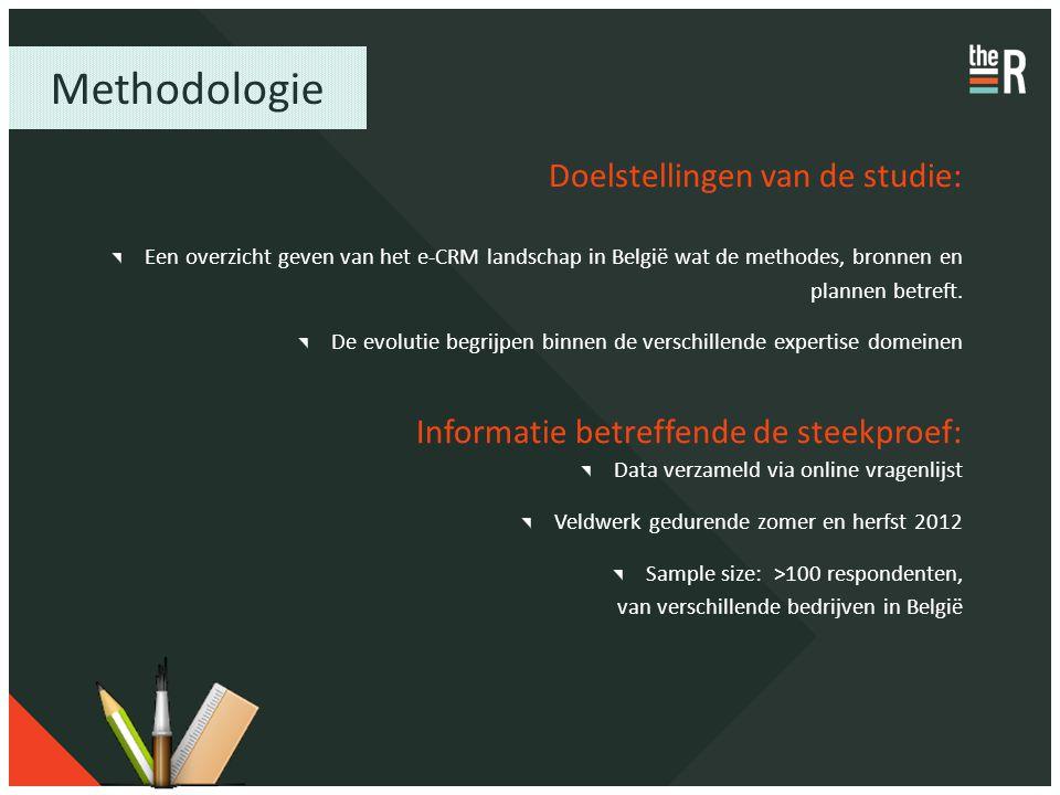 Methodologie Doelstellingen van de studie: Een overzicht geven van het e-CRM landschap in België wat de methodes, bronnen en plannen betreft. De evolu