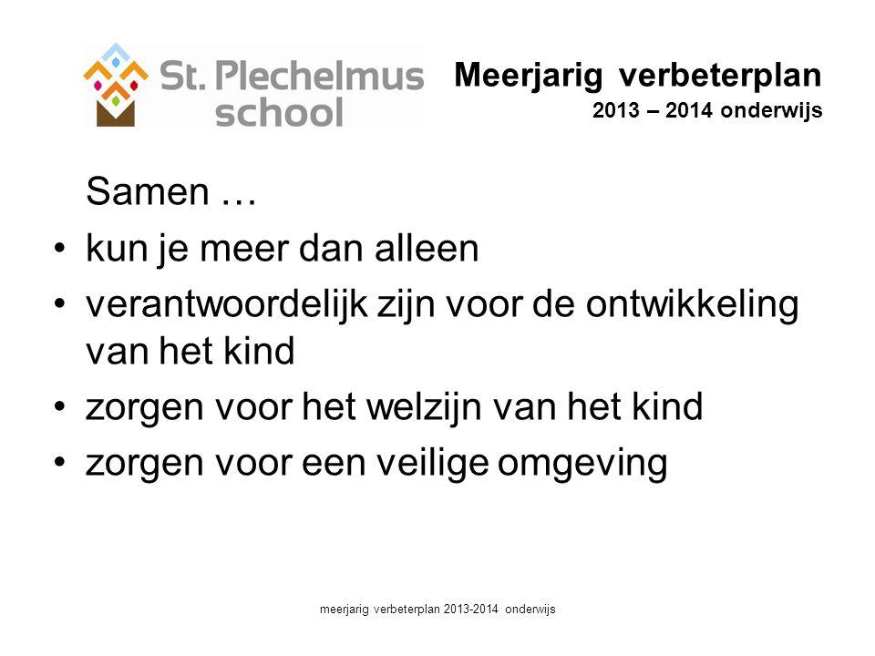 Meerjarig verbeterplan 2013 – 2014 onderwijs Samen … •kun je meer dan alleen •verantwoordelijk zijn voor de ontwikkeling van het kind •zorgen voor het welzijn van het kind •zorgen voor een veilige omgeving meerjarig verbeterplan 2013-2014 onderwijs