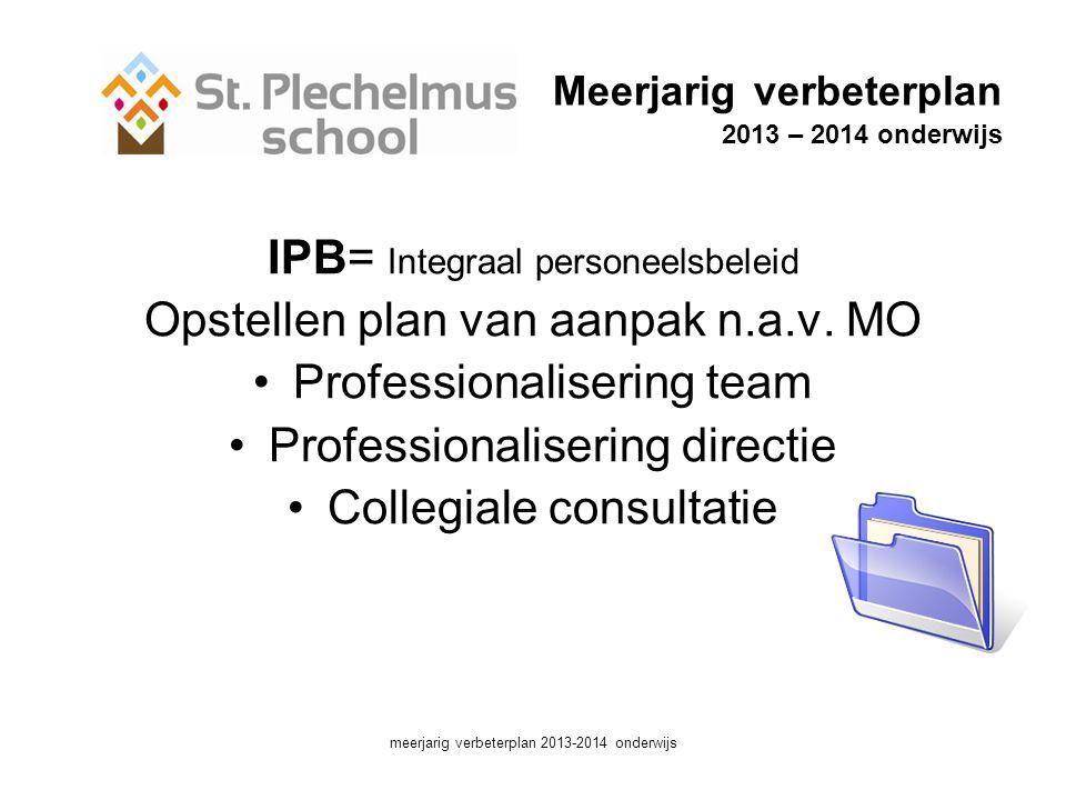 Meerjarig verbeterplan 2013 – 2014 onderwijs IPB= Integraal personeelsbeleid Opstellen plan van aanpak n.a.v.