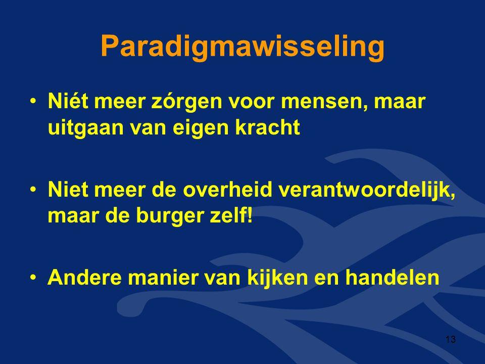 Paradigmawisseling •Niét meer zórgen voor mensen, maar uitgaan van eigen kracht •Niet meer de overheid verantwoordelijk, maar de burger zelf! •Andere