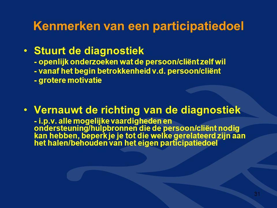 Kenmerken van een participatiedoel •Stuurt de diagnostiek - openlijk onderzoeken wat de persoon/cliënt zelf wil - vanaf het begin betrokkenheid v.d. p