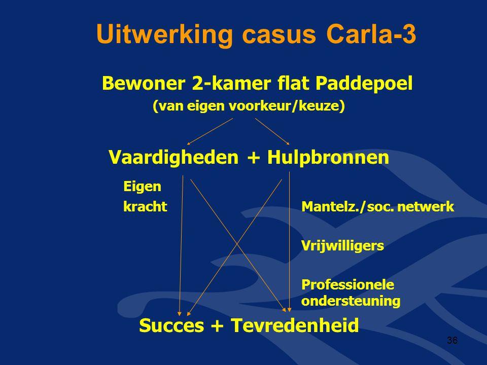 Uitwerking casus Carla-3 Bewoner 2-kamer flat Paddepoel (van eigen voorkeur/keuze) Vaardigheden + Hulpbronnen Eigen kracht Mantelz./soc. netwerk Vrijw