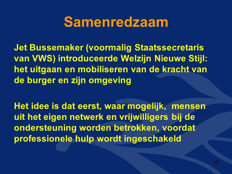 Samenredzaam Jet Bussemaker (voormalig Staatssecretaris van VWS) introduceerde Welzijn Nieuwe Stijl: het uitgaan en mobiliseren van de kracht van de b