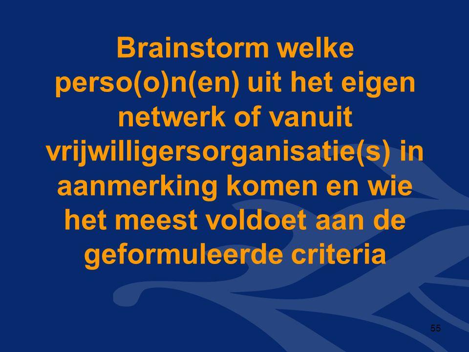 Brainstorm welke perso(o)n(en) uit het eigen netwerk of vanuit vrijwilligersorganisatie(s) in aanmerking komen en wie het meest voldoet aan de geformu