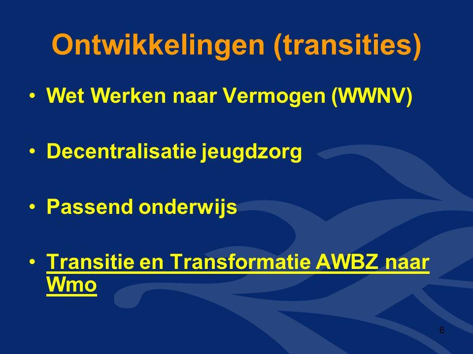 Ontwikkelingen (transities) •Wet Werken naar Vermogen (WWNV) •Decentralisatie jeugdzorg •Passend onderwijs •Transitie en Transformatie AWBZ naar Wmo 6
