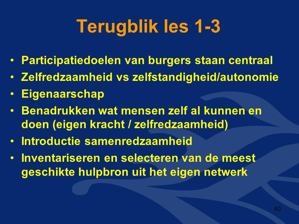 Terugblik les 1-3 •Participatiedoelen van burgers staan centraal •Zelfredzaamheid vs zelfstandigheid/autonomie •Eigenaarschap •Benadrukken wat mensen